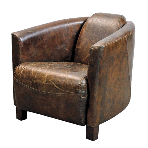 Roma antique leather brown armchair sofa tub furniture ebay - Fauteuil cuir vieilli vintage ...
