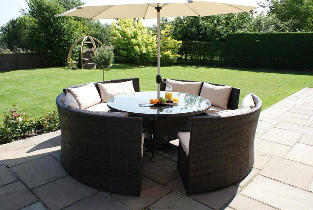 vegas rattan garden furniture round table sofa set ebay. Black Bedroom Furniture Sets. Home Design Ideas