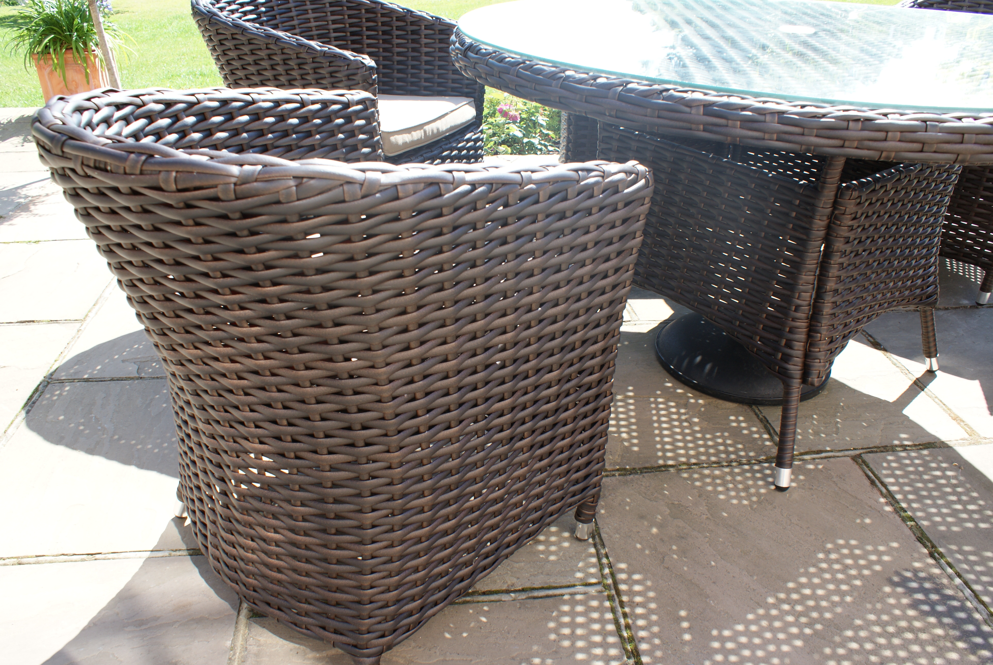 sienna rattan garden furniture outdoor small round table and 2 chairs