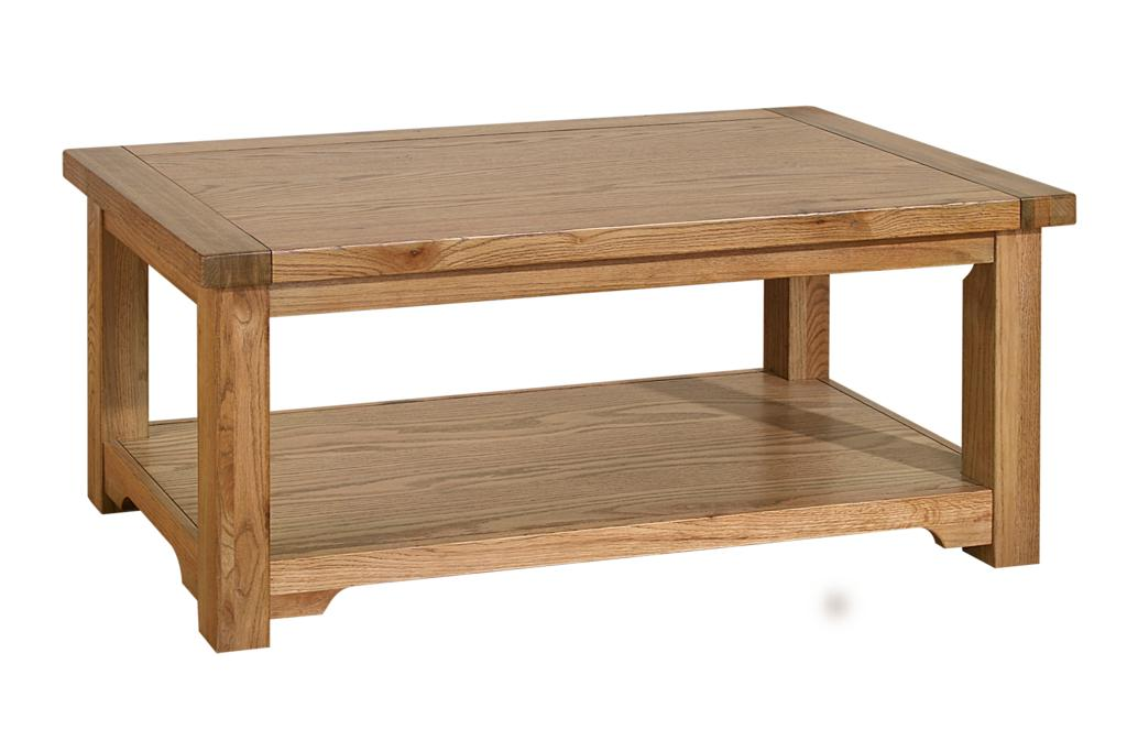 Boston Solid Oak Rustic Furniture Coffee Table Shelf