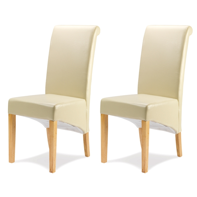 Cuba Oak Furniture 6 Cream Leather Dining Table Chairs Ebay