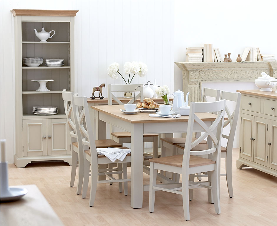 Painted oak dining table and chairs table chair sets for Painted dining room furniture