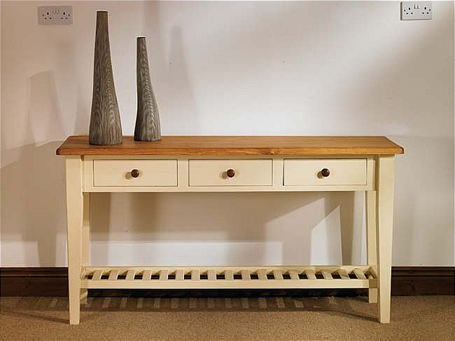Painted Pine Furniture 3 Drawer Console Side Hall Table Ebay