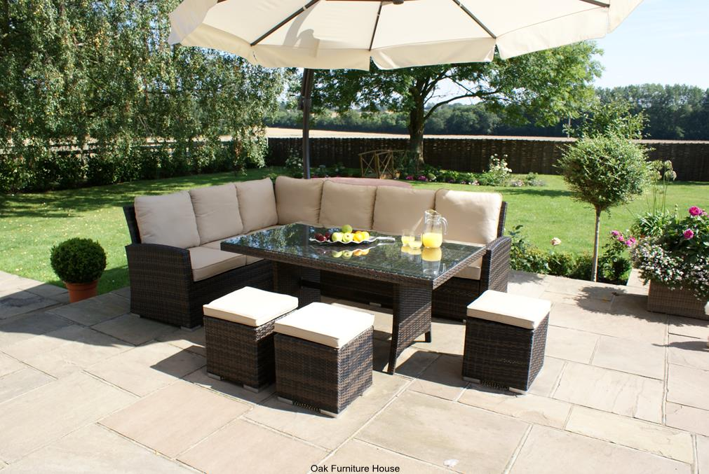 madison rattan garden furniture corner sofa stool dining table set ebay - Garden Furniture 2014 Uk