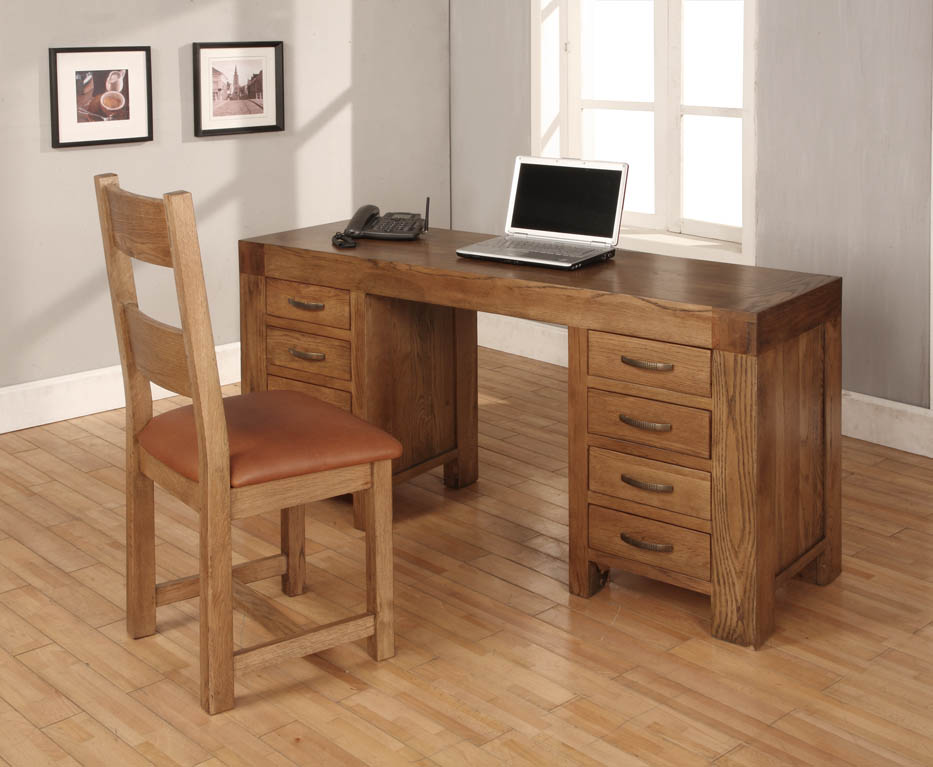 details about heritage solid oak large computer desk study table home