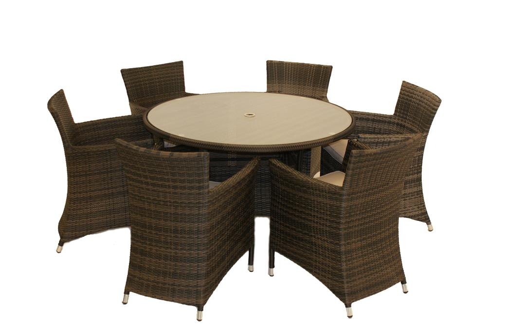 Rattan Garden Furniture Newyork Round Dining Table 6 Chair Set EBay