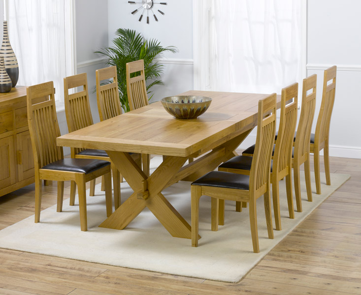 Provence Solid Oak Furniture Dining Room Table And 8 Monte Carlo Chairs Set