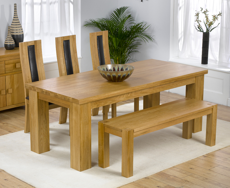 solid oak large dining table barcelona bench and 3 havana chairs