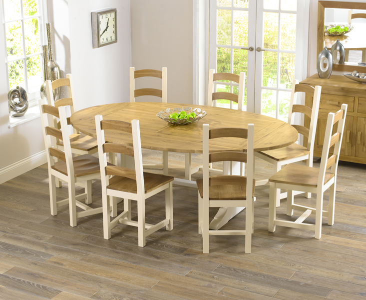 Farmhouse solid oak cream oval extending dining table and for Oak farmhouse kitchen table and chairs