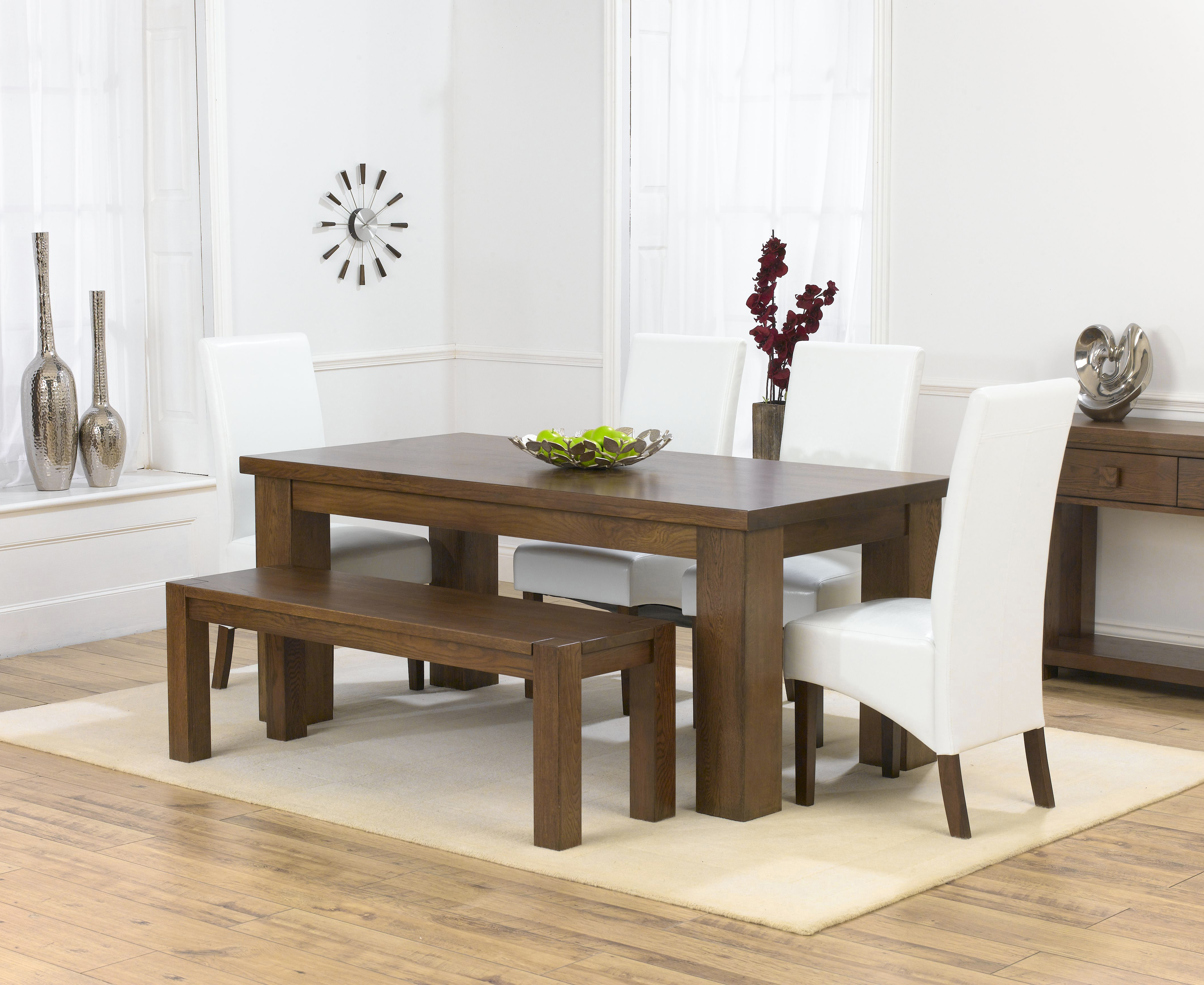 Oak Chairs For Kitchen Table Cheshire Dark Solid Oak Medium Dining Table Barcelona Bench And 4