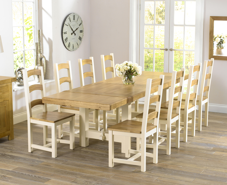 Cottage painted solid oak furniture extending dining table