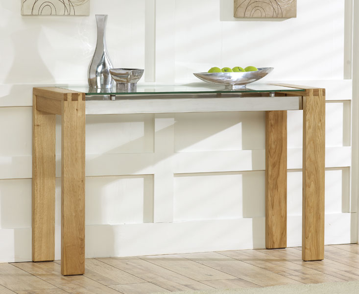 Vegas Solid Oak And Glass Living Room Furniture Console