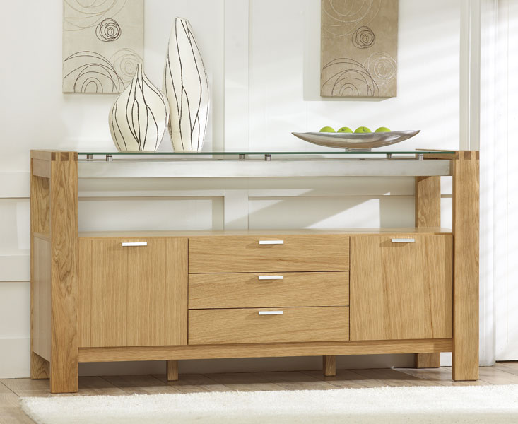 Vegas Solid Oak And Glass Dining Room Furniture 3 Drawer