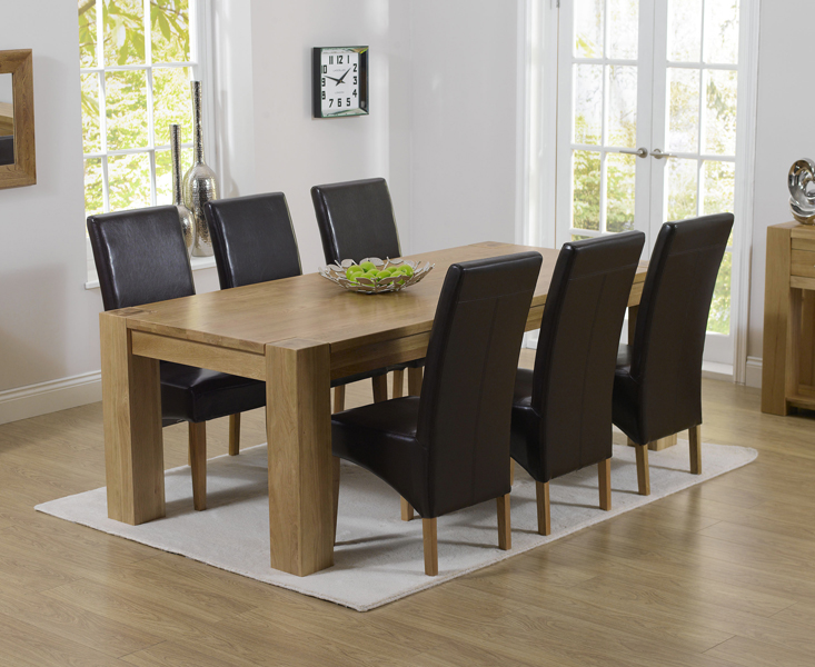 Rutland Solid Chunky Oak Furniture Large Dining Table And 6 Roma Chairs Ebay