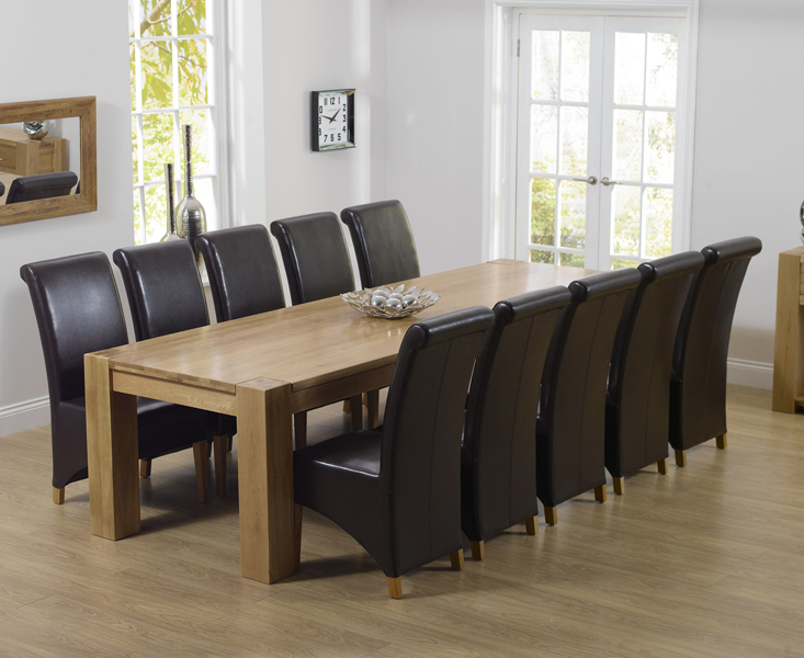 Rutland Chunky Oak Furniture Extra Large Dining Table And 10 Barcelona Chairs Ebay