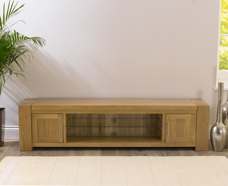 Rutland Solid Chunky Oak Living Room Furniture Large Tv Unit Stand With Shelves Ebay