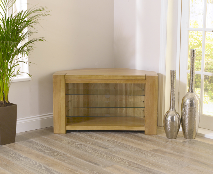 Rutland Solid Chunky Oak Living Room Furniture Corner Tv Unit Stand With Shelves Ebay