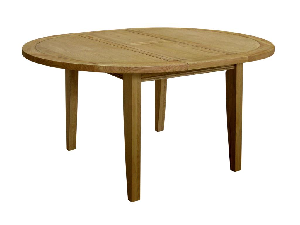 Paris solid oak furniture round extending dining table for Solid oak dining table