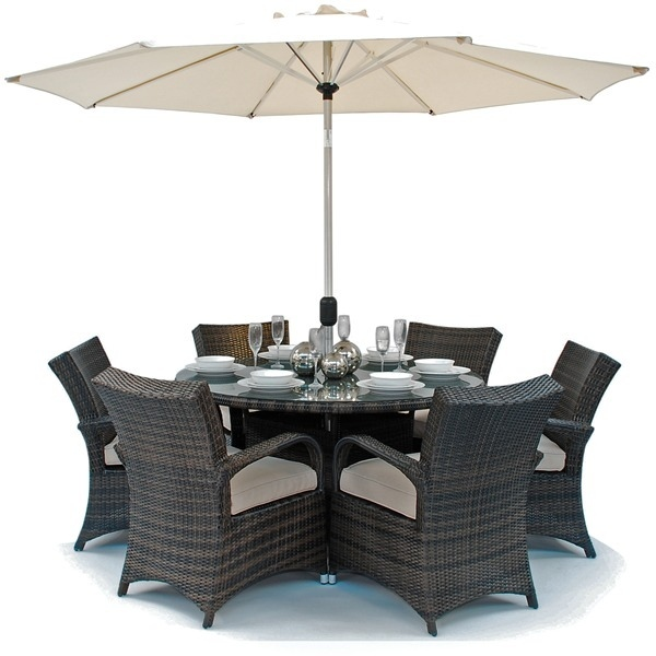 furniture bentley round dining table 6 chair set parasol cushion