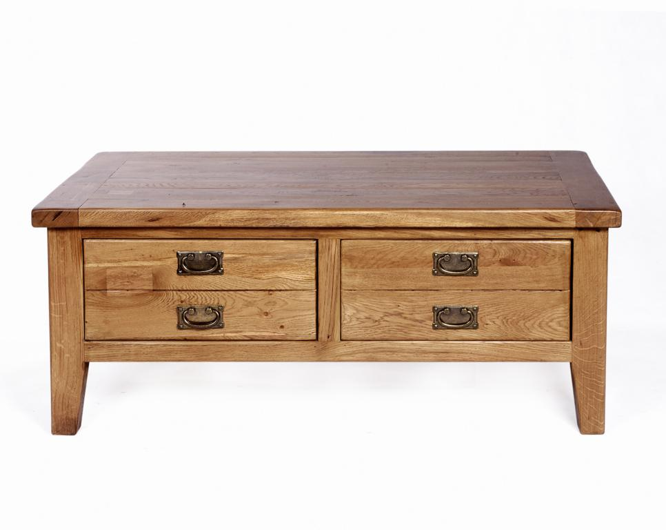 Rutland Solid Oak Furniture Two Drawer Coffee Table Ebay