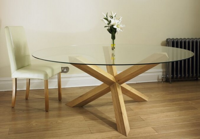 Oak Pedestal Glass Round 4 39 6 Dining Table For 8 Chairs Ebay